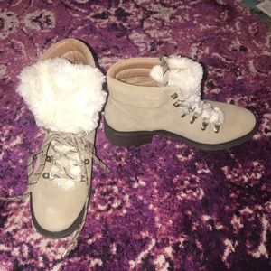 Sam Edelman suede faux fur boots in tan size 9